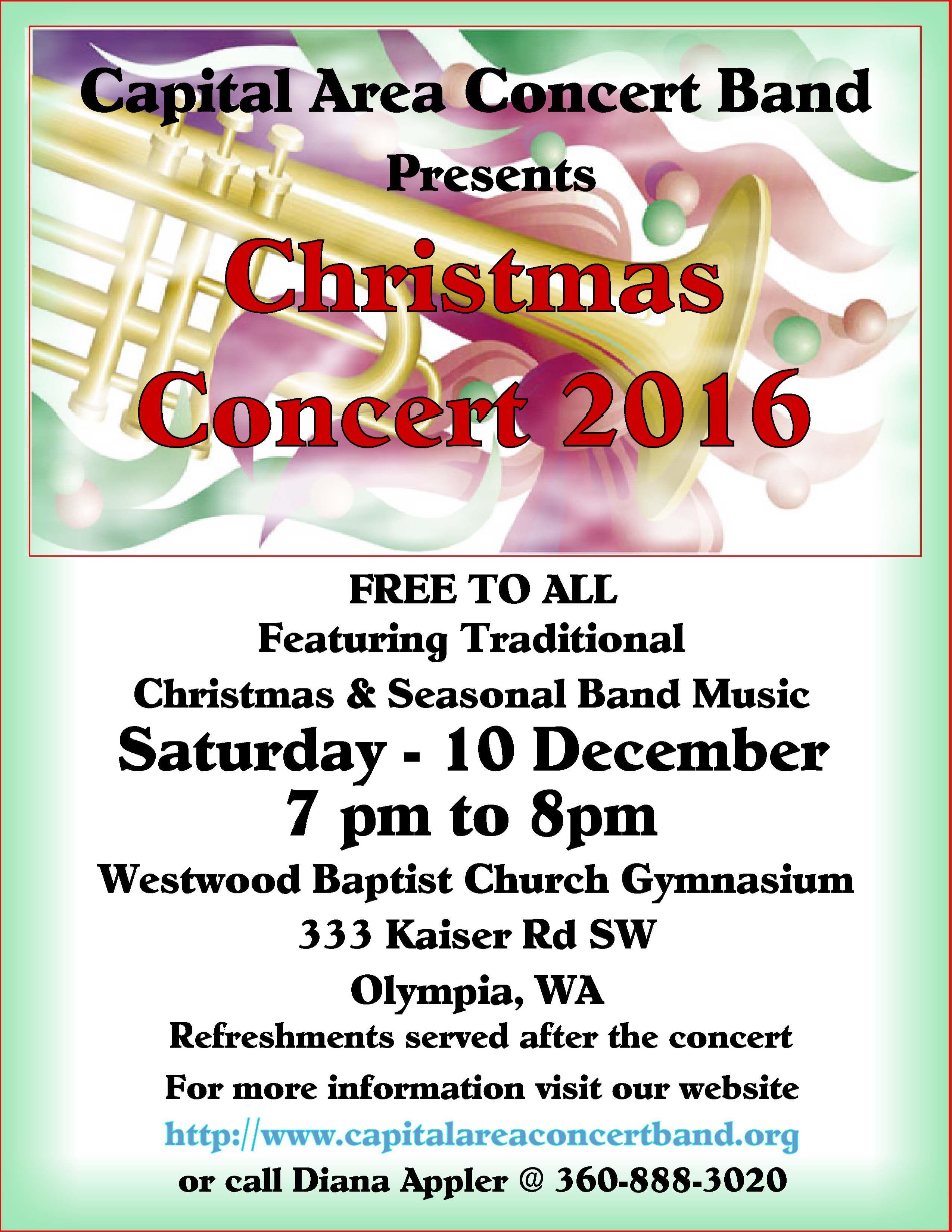 christmas concert capital area concert band 2016 christmas concert cacb christmas flyer 2016